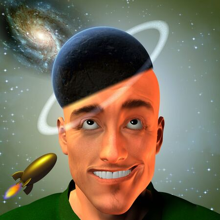 goofy: Man with ringed planet for hat and space elements Stock Photo