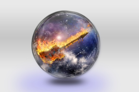 jazz guitar: Flaming Guitar inside crystal sphere