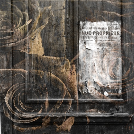 ephemera: Door with banner and roses in grunge Stock Photo