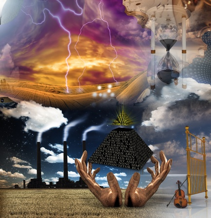 spiritual energy: Surreal Composition Stock Photo