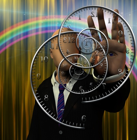Faceless man and time spirals photo