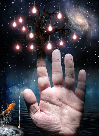 goldfish jump: Hand with tree of lights and pull switch