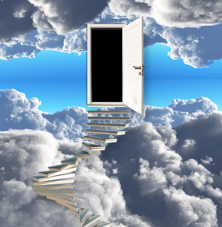 Stairway leads to door in sky photo