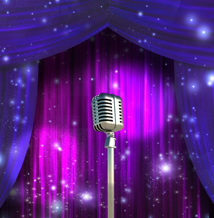 theatrical performance: Classic Microphone with Colorful Curtains Stock Photo