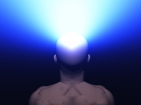 man radiates light from head photo