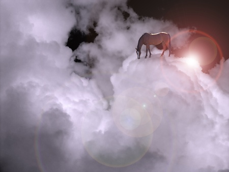 enchantment: Cloudscape with horse Stock Photo