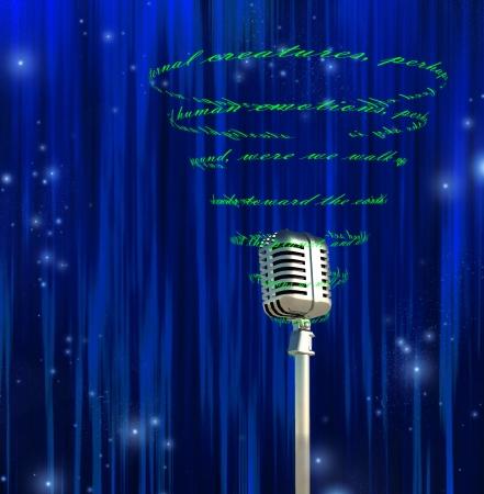 poezie: Microfoon en wervelende tekst Stockfoto