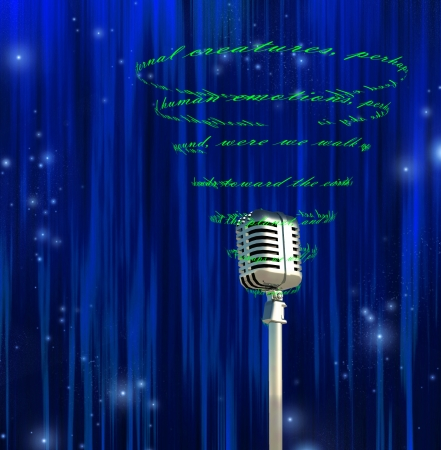 recite: Microphone and swirling text