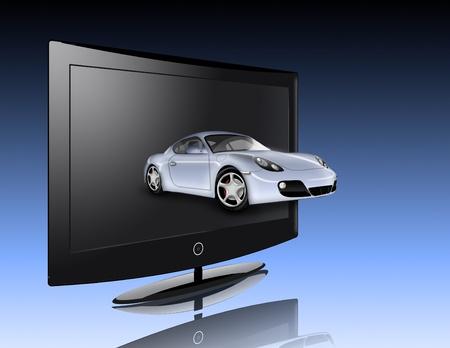 Monitor and car photo