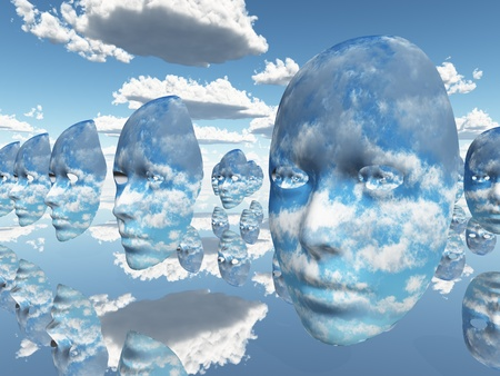 alter: Repeating faces of clouds Stock Photo