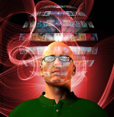 Man views video sphere surrounding his head photo