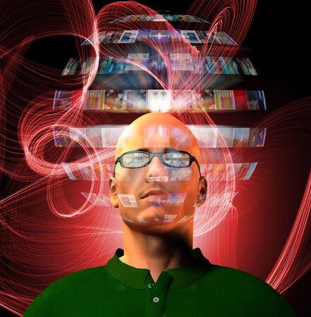 Man views video sphere surrounding his head