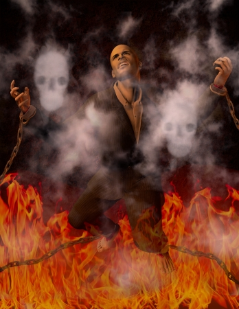 Man Chained in Hell Stock Photo - 11799929