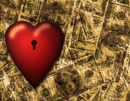 treasury: Locked heart and US currency background