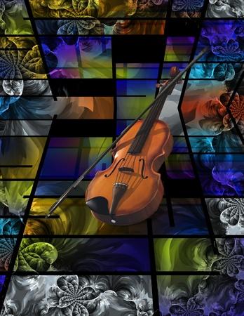 cubismo: Arte abstracto moderno viol�n Foto de archivo