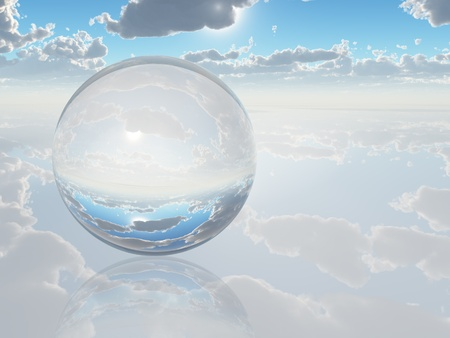 clear sky: Surreal Landscape with crystal sphere Stock Photo