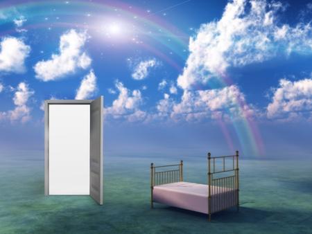 brain storm: Bed in fantasy landscape Stock Photo