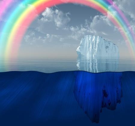 Iceberg with rainbow scene 스톡 콘텐츠