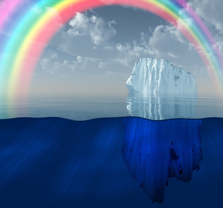 background antarctica: Iceberg with rainbow scene Stock Photo