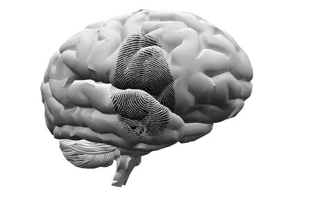 Finger Print op de hersenen Stockfoto