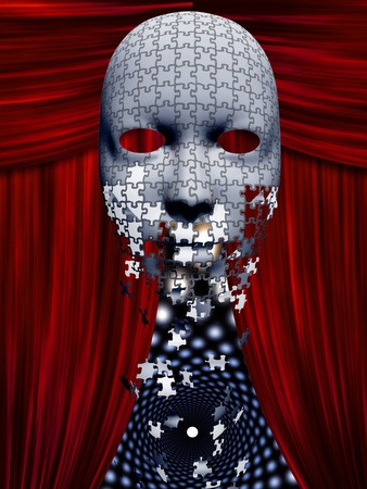 Puzzle pieces fall away from mask in theater backgropund photo
