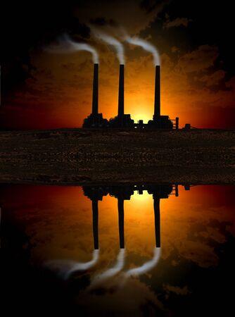 Factory sunset Stock Photo