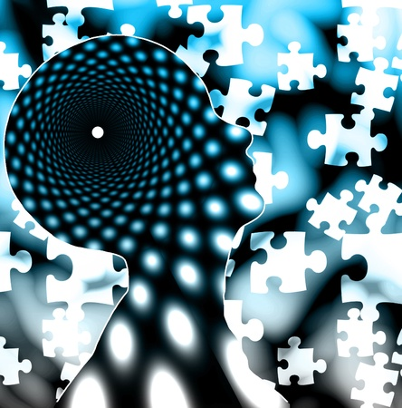 brain mysteries: Puzzle mind Stock Photo