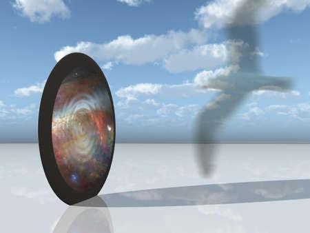 Sybolic bird iand interdimensional gate photo
