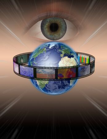 Eye watches earth film photo