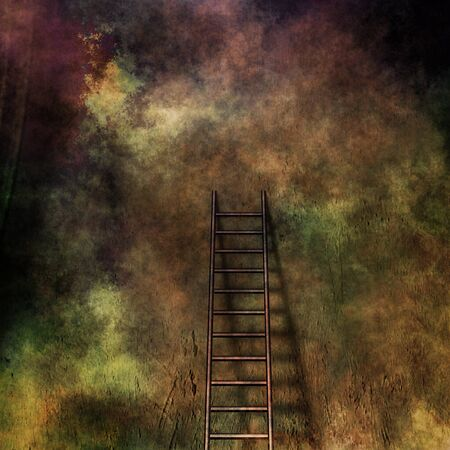 spirtual: Grunge ladder and wall Stock Photo