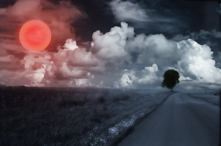 spirtual: Landscape with big sun Stock Photo