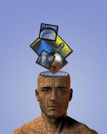 human mind: Ondas en la mente Foto de archivo