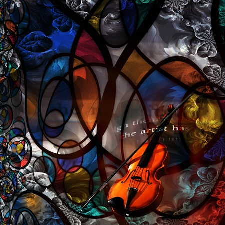 stringed: Violin Modern Art Composition Stock Photo