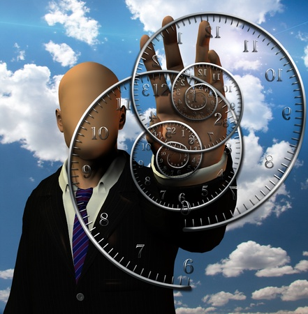 rush hour: Faceless man and time spirals