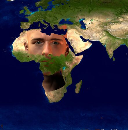 south space: Africa superimposed on Mans face