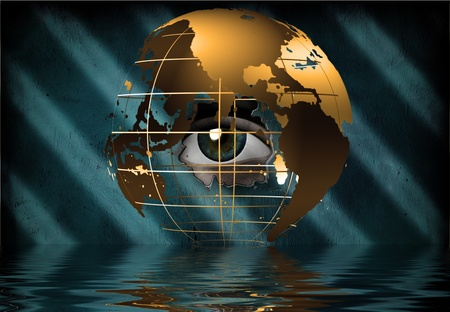 optical people person planet: Eye peers through earth Stock Photo
