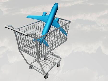 Straalvliegtuigen in Winkelwagen Stockfoto
