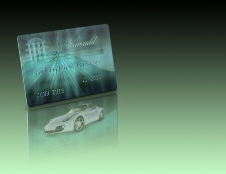 Credit Card and car with reflections Not an actual credit card and car not a photograph Stock Photo - 12427519