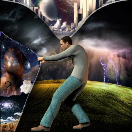 concept magical universe: Tirar hacia atr�s de la cortina para revelar la otra Foto de archivo