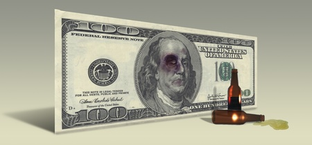 broke: US Hundred Dollar bill with Drunken Ben Franklin