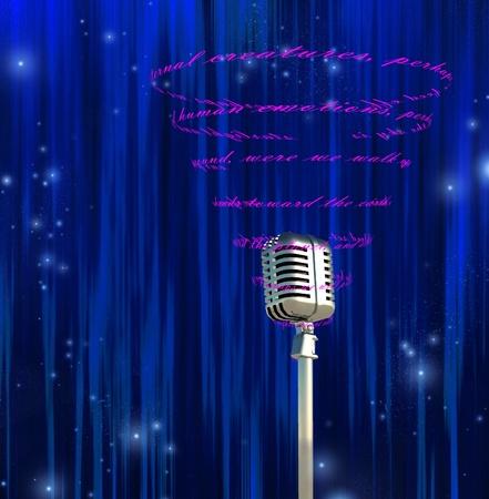 letras musicales: Micrófono y texto girando