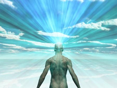 mente: Hombre con historia en su piel irradia la luz de su cabeza Foto de archivo