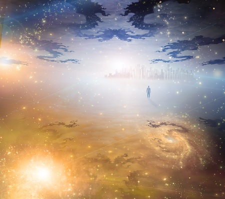 espiritu santo: El hombre se acerca a la ciudad a la luz