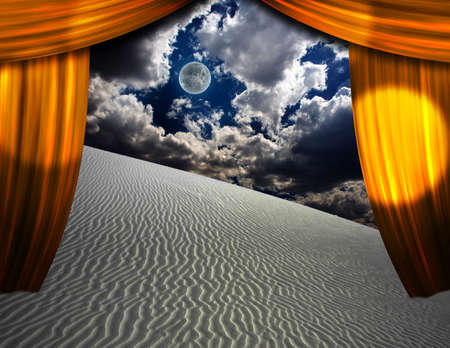 adventure story: Desert sands seen through opening in curtains