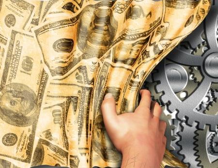 生産性: お金のマシンを明らかにしました。 写真素材