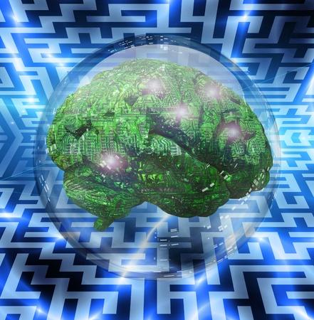 mente humana: Máquina de la mente en burbuja de cristal