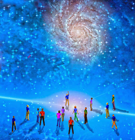 People gather in mystery Sci fi like scene photo