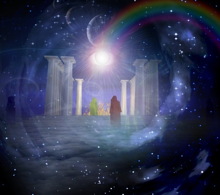 enigma: Temple in spiritualy based composition Stock Photo