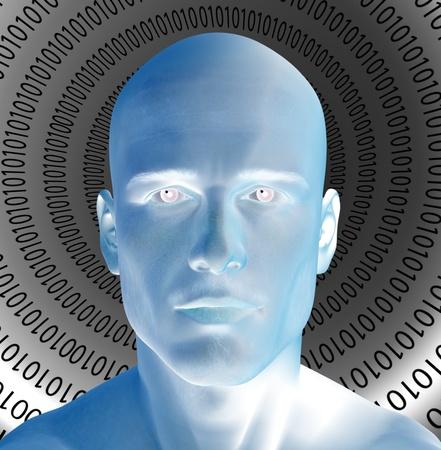 technological: Binary Man Stock Photo