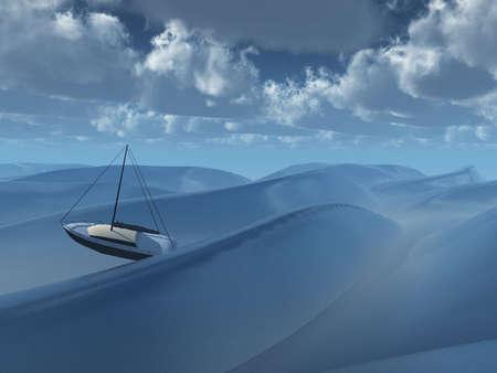 moody sky: Piccola barca tra le onde Archivio Fotografico